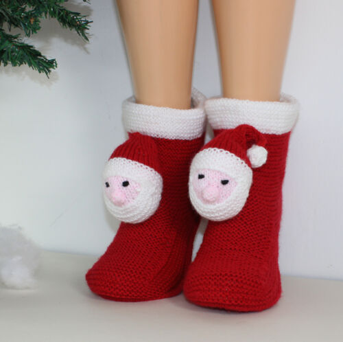 PRINTED INSTRUCTIONS MENS SANTA HEAD CHRISTMAS BOOTS SLIPPERS KNITTING PATTERN