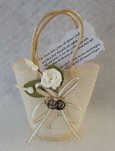 Gastgeschenke Hochzeit Korbchen Tischdeko Mandeln Spruch Rose Weiss