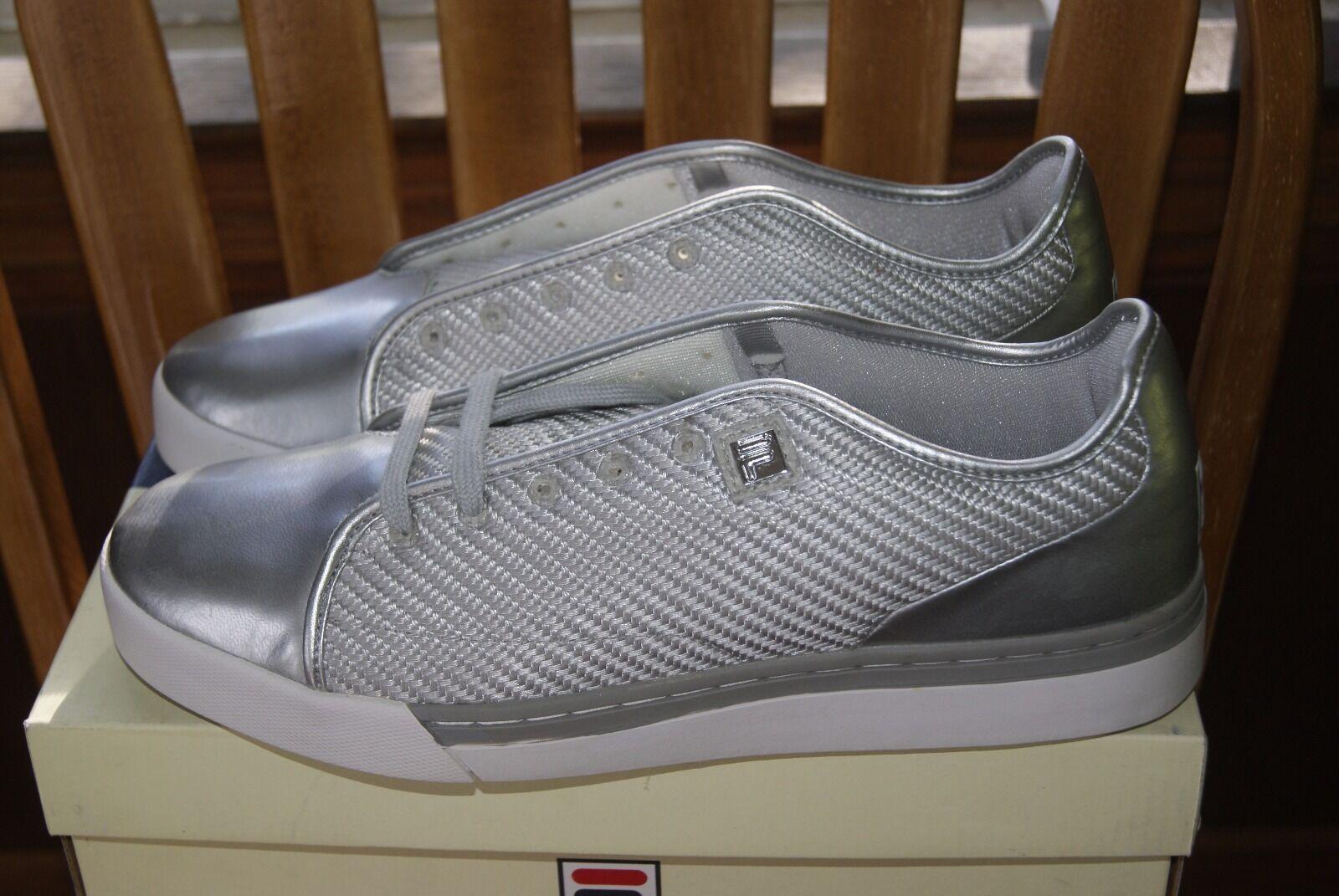 Mens Fila Club Mesh Synthetic Metallic Silver White Sz 11 Sneakers shoes