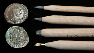 """""""Le Crayon a Andre"""" > Amazing ANCIENT Coin Cleaning > 4 Pencil Set"""
