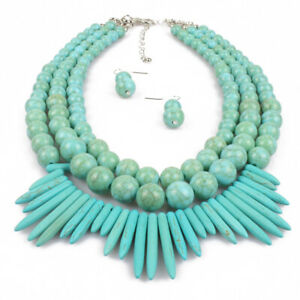 New-Turquoise-Blue-Beaded-Chunky-Statement-Necklace-Set