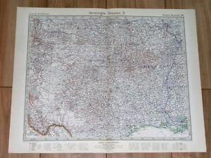 Map Of Texas Oklahoma And Louisiana.1932 Original Vintage Map Of Texas And Oklahoma Kansas Arkansas