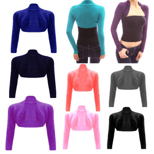Womens Plain Long Sleeves Bolero Shrug Cropped Ladies Viscose Jersey Summer Top