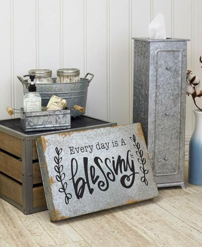 Galvanized Tin Accents Bath Storage Soap Box Tray Toilet Paper Holder Wall Sign