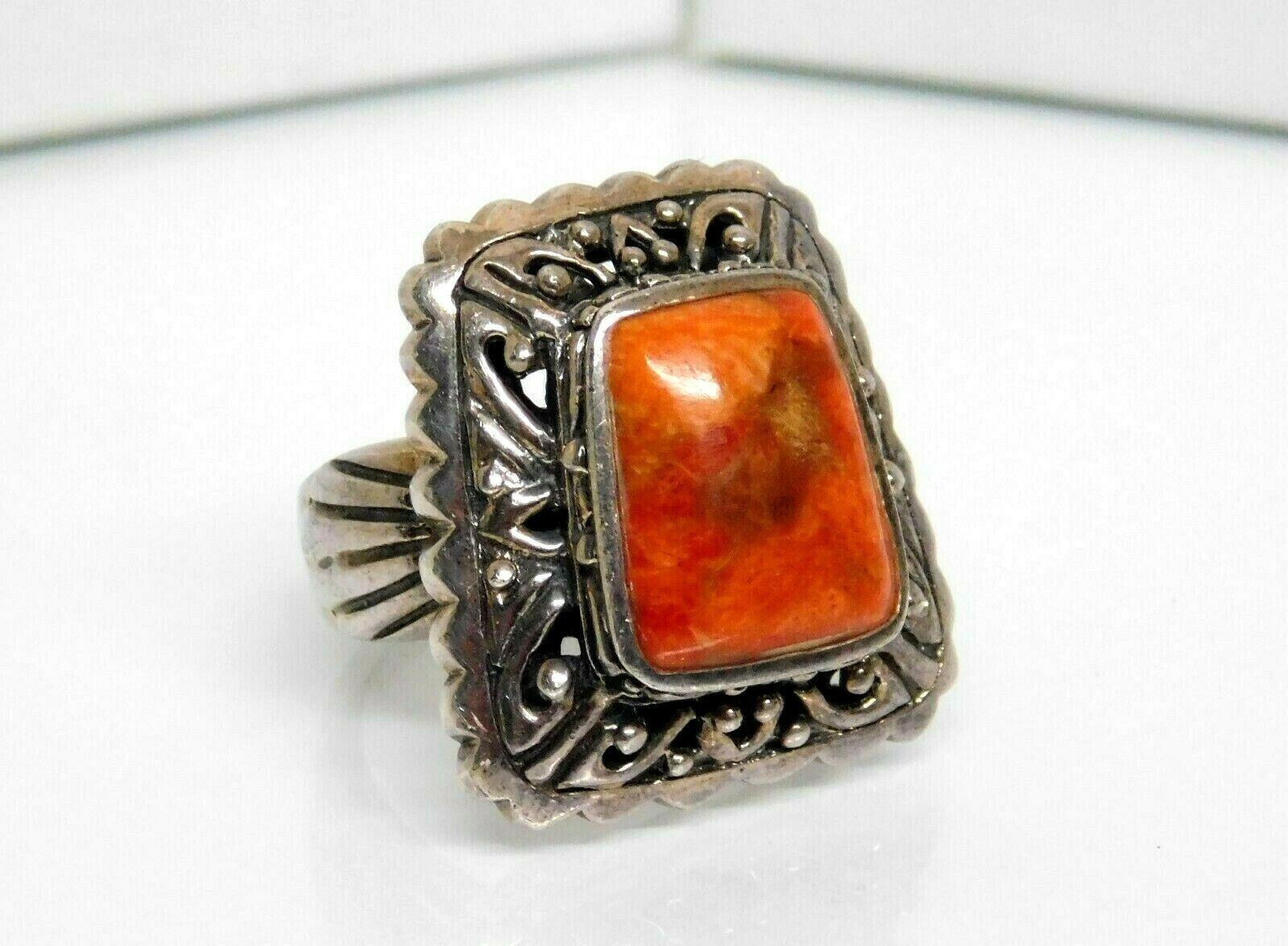 Orange /& Marcasite Sterling Silver Ring Size 6.25 Vintage