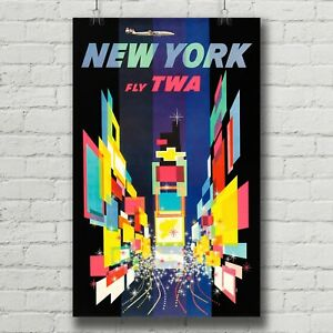 Art Deco Poster New York.Details About New York Travel Poster Twa Canvas Print Vintage Retro Art Deco
