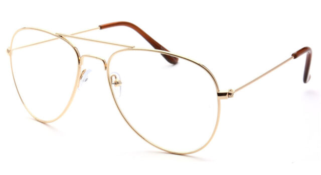 Classic Vintage Retro Aviator Clear Lens Gold Metal Frame Eyeglasses ...
