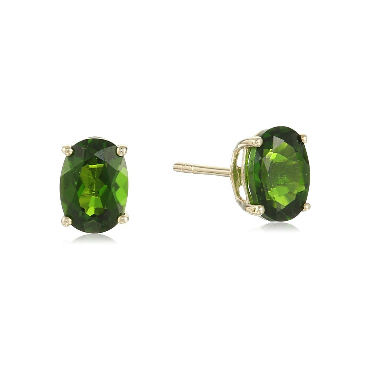 10k gold Oval Stud Earrings in chrome diopside