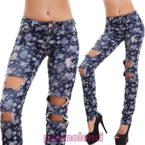 Jeans donna pantaloni skinny strappi FIORI slim sigaretta aderenti nuovi XL-002