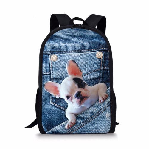 Denim Cute Puppy Kitty School Backpack Boys Girls Book Bag Animal Rucksack Blue