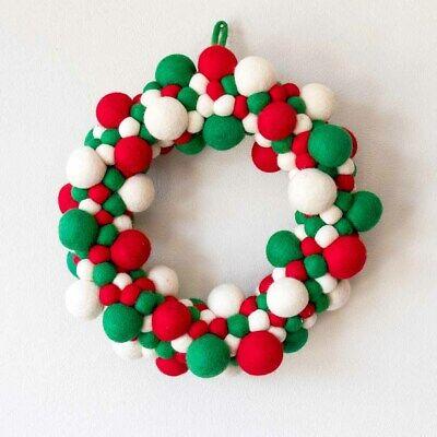 Handmade Felt Ball Wreath Home Decoration Christmas Wreath Felted Pom Pom Decor | eBay