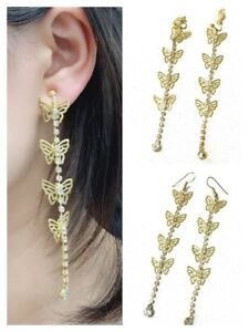Super-Long-Gold-Tone-Butterfly-Crystal-Dangle-Drop-Earrings-Clip-On-or-Pierced