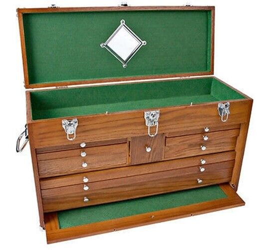 machinist wooden wood tool chest 14 drawer oak with tools |