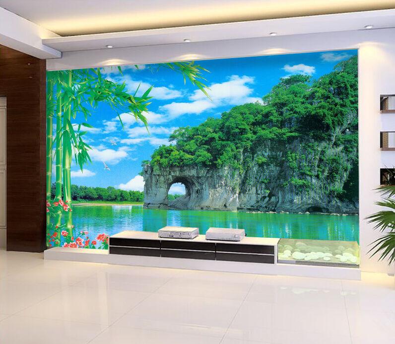 3D Bambous.Lac 77 Photo Papier Peint en Autocollant Murale Plafond Chambre Art