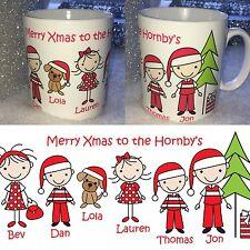 Nombre de la familia Personalizado Taza Navidad incluso Mascotas Novedad Regalo De Navidad