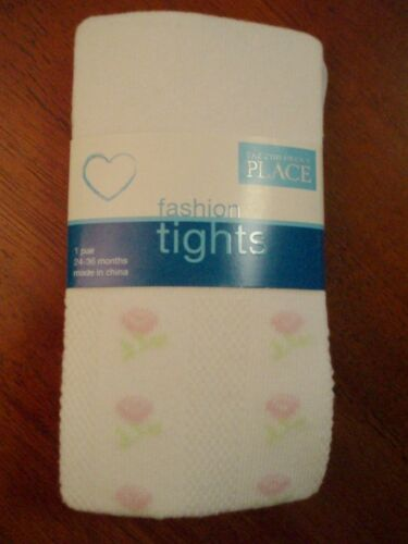 Toddler/'s Heavyweight White Tights with Pink Roses   Size 6-12 /& 12-24 Mos  NWT!