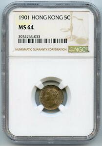 Hong-Kong-Victoria-Silver-5-Cents-1901-NGC-MS64-KM-5