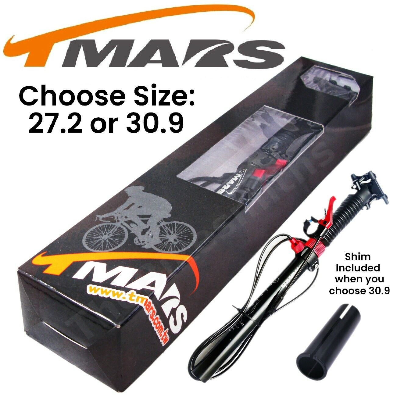 TMARS 419L 27.2   30.9 x 445mm Dropper Seatpost w Remote Post MTB Downhill Bike