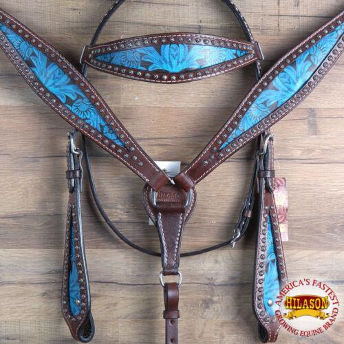 C-LTRQ Hilason Western Horse Headstall Breast Collar Set American Leather