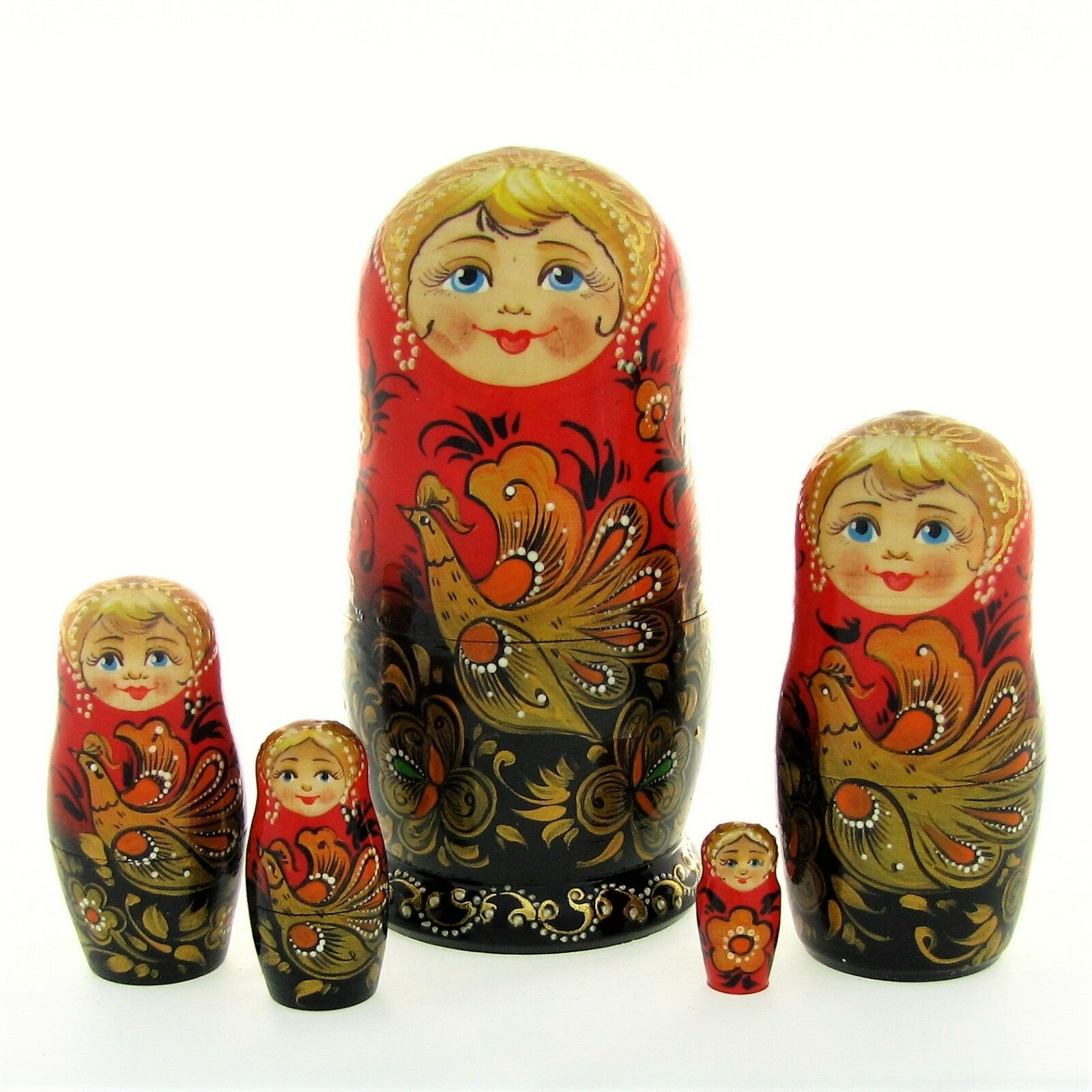 5 Poupées russes H18 peint main signé Matriochka Matriochka signé Gigognes Nested Doll Matrioshka df1b1d