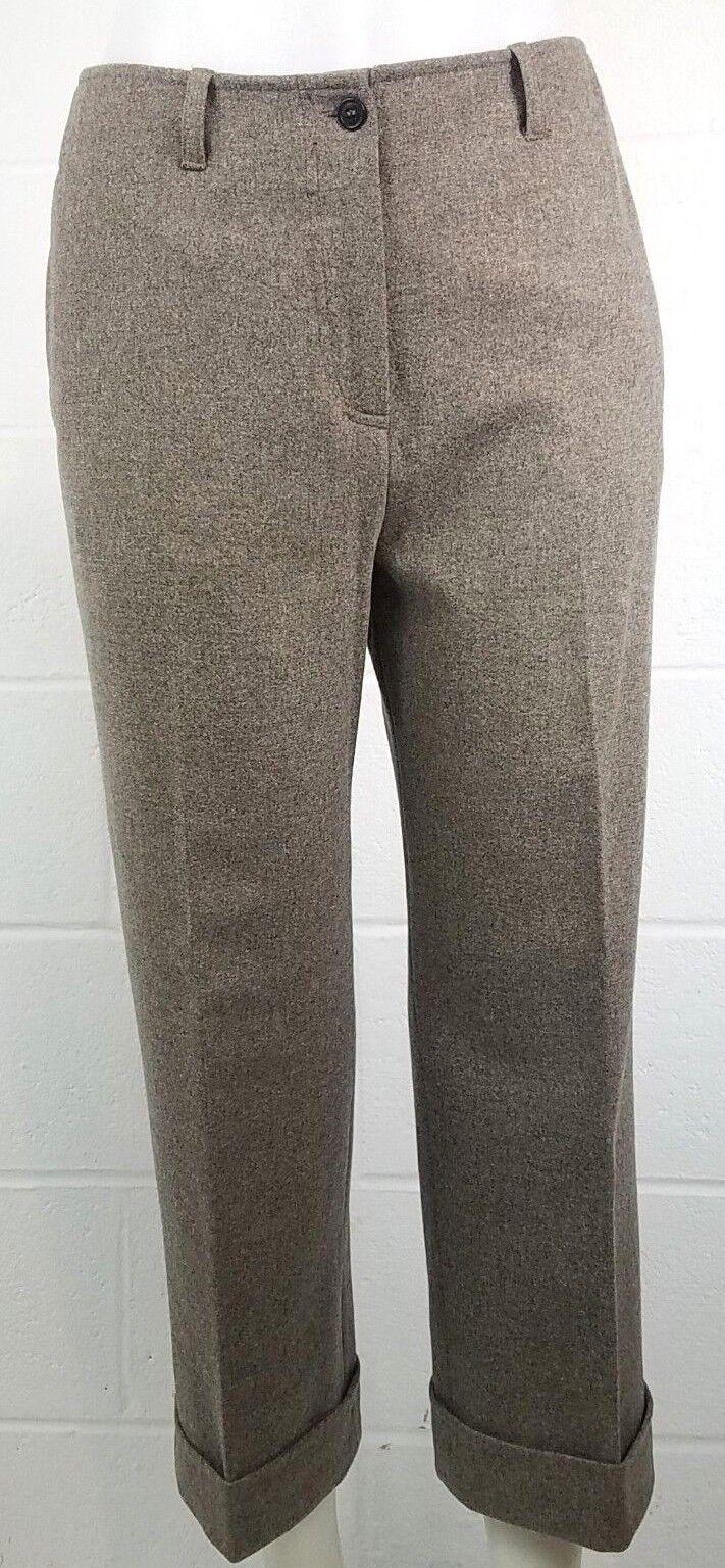 Claudie Pierlot Womens Brown Capri Wool Pants Size 28 High Waist Trousers