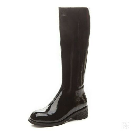 Women Knee-High Boots Patent Leather Chunky Heel Riding Booties Combat Shoes Zip
