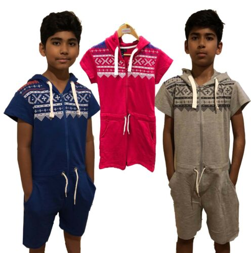 Kids Onsie1 Short sleeve jumpsuit Boys Girls Aztec Hooded Pyjamas unisex Pink