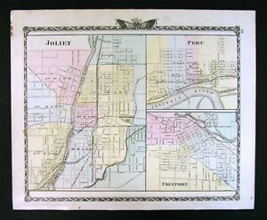 Kewanee Illinois Map.1876 Illinois County Map Joliet Peru Freeport Geneseo Kewanee