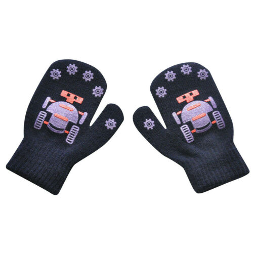 Children Boys Girls Gloves Winter Warm Robot Print Patchwork Knitted Gift Gloves