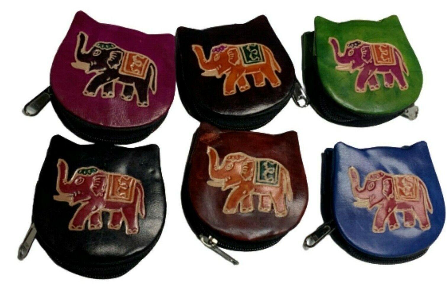 Faux Leather Coin Purse Women's Handmade Elephant Print Unisex Wallet
