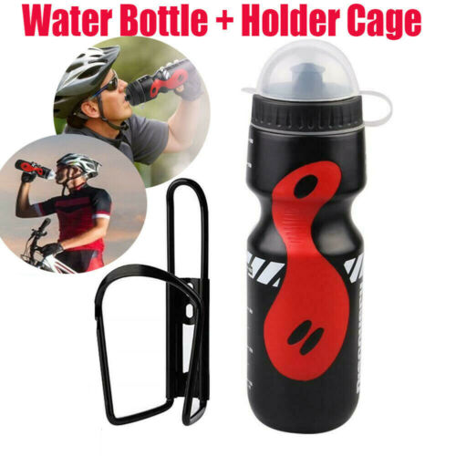 Bicycle Cycling Drink Bottle Outdoor  Water Bottle Plastic With Holder Cage US