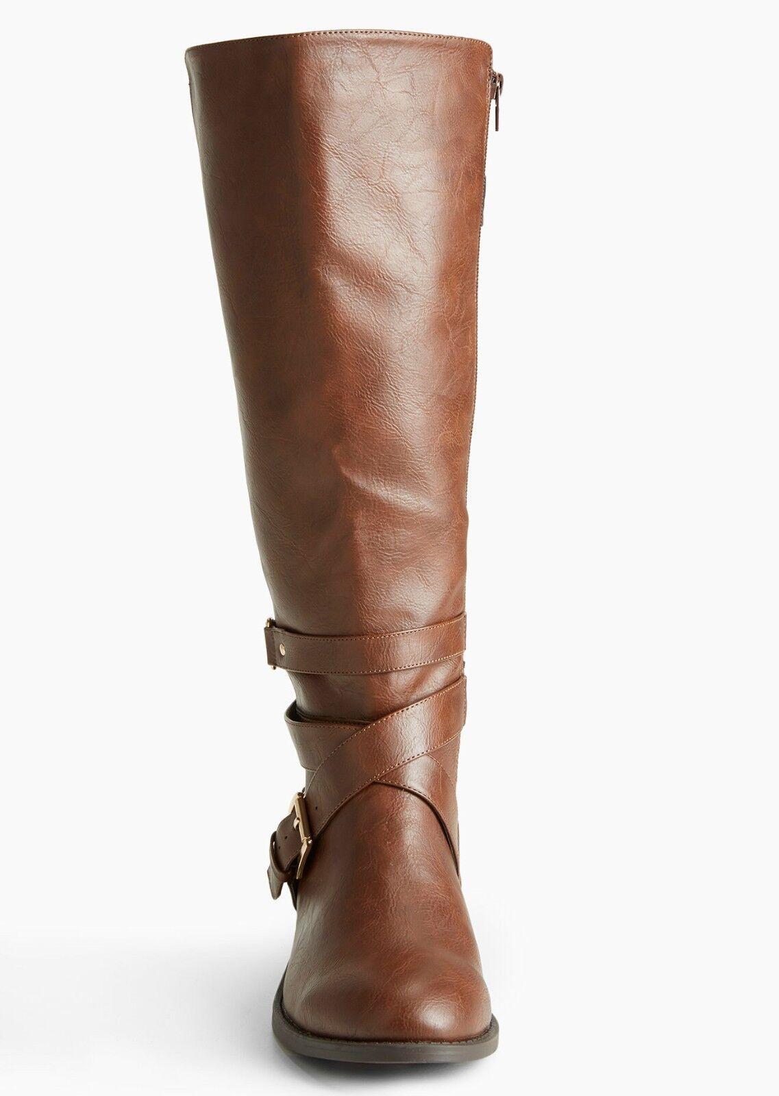 TORRID NIB Größe Größe Größe 6.5W Braun Multi Buckle Strap Gore Tall Stiefel (Wide Width) #152 717f62