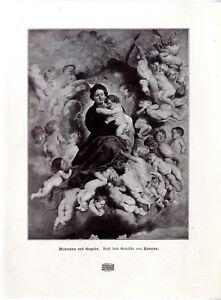 Madonna-mit-Kinder-Engeln-n-e-Gemalde-von-Rubens-Histor-Kunstdruck-1901
