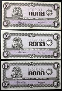 Lot-of-3x-Groupe-Rona-Argent-Cle-10-Cents-Paper-Money