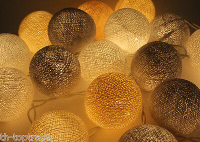 20 mixed Gray Cotton Ball String Lights Fairy lights Party