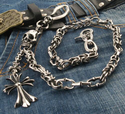 """Silver CS82 25.5/"""" DK Cross Pendant Skull Biker Trucker Key Jean Wallet Chain"""