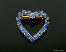 1960s blaues Strass Herz Brosche, Heart Brooch, coeur Broche, Spilla, Anstecker