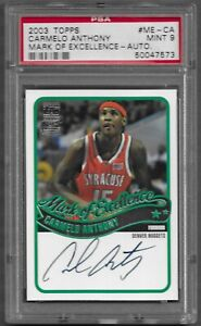 2003-04 Topps Mark of Excellence Carmelo Anthony RC Auto HOF PSA 9 POP 1