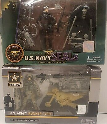 NAVY SEALS ACTION FIGURE SET MILITARY TOY EXCITE  w// Water Craft Scuba Gear U.S