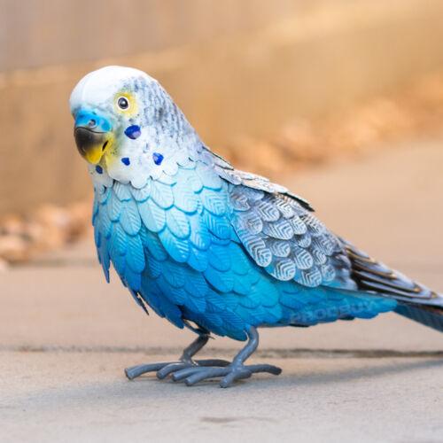 Large 32 cm Bleu Perruche oiseau couleur Métal Maison Décoration De Jardin Sculpture Figure
