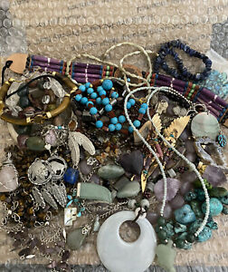 Huge Jewelry Lot Estate Sale Vintage Now 2lbs Signed Wear Craft Turquoise More