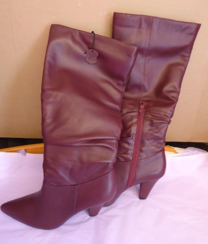 Marks & Spencer UK8 EU42 US10 NEU berry Leder knee length zip ankle boots