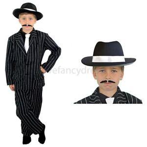 Kinder Gangster Schwarzer Anzug Krawatte Kostum Verkleidung Jungen