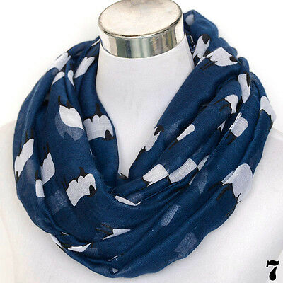 Women Sheep Print Scarf Fashion Farm Animal Lady Wrap Neck Shawl Soft Stole Long