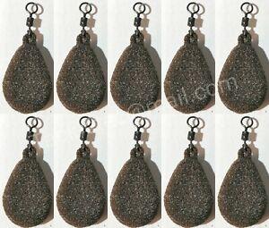 10x Fishing Flat  Pear Leads 1.5//2//2.5 //3 //3.5 //4//4.5oz Camo Brown