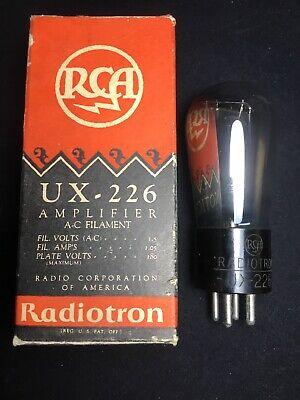 Vintage Engraved RCA Radiotron UX-226 Globe Balloon Vacuum Tube Very Strong