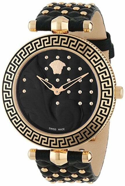 9d81c603 Versace Women's VK7030013 Vanitas Gold IP Steel Black Leather 2 Bands Watch