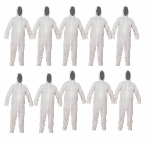 10 X Disposable Paper Suit Protective Overall Coveralls LARGE