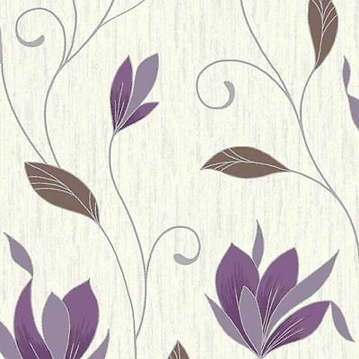 NEW!!! Plum Purple/Silver Glitter-M0778-Synergy Floral Textured Vymura Wallpaper