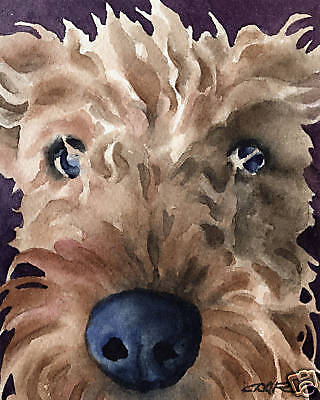 airedale terrier dog 8x10 art print poster watercolor painting